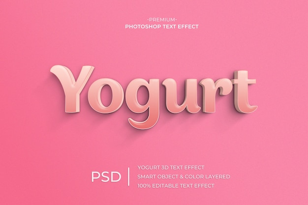 Yogurt 3d text style effect template Premium Psd