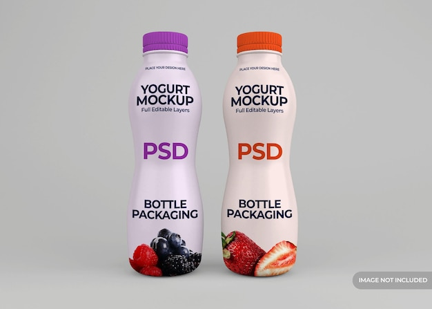Yogurt bottle packaging mockup design isolated