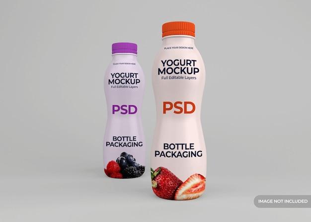 Yogurt bottle packaging mockup design isolated