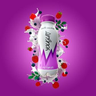 Бутылка йогурта с молочным всплеском малины и черникой макет