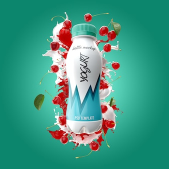 Yogurt bottle with splash and cherry mockup