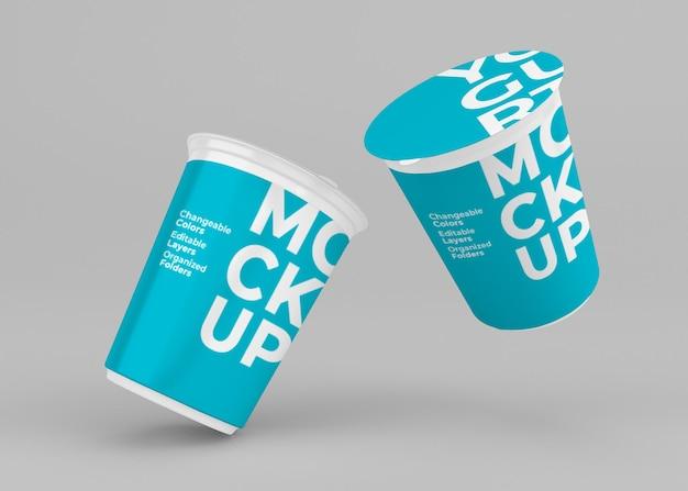 고립 된 요구르트 컵 이랑 디자인
