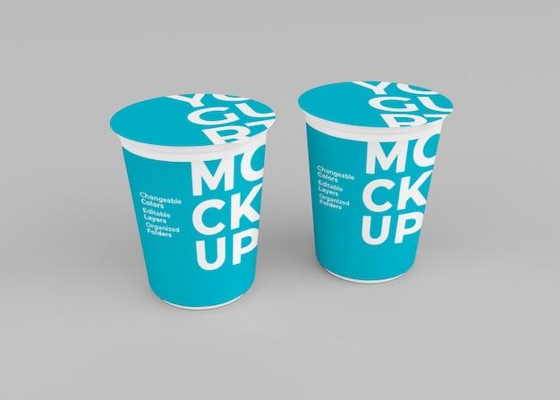 Изолированный дизайн макета чашки йогурта