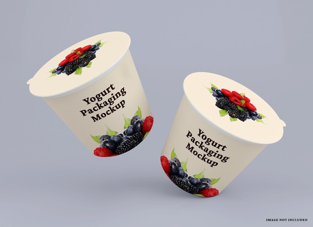 Макет упаковки чашки йогурта