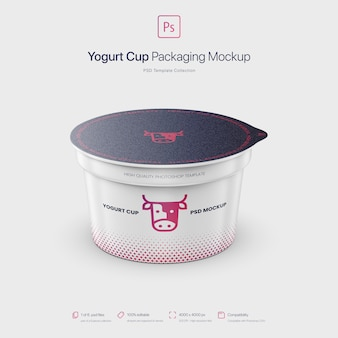 Yogurt cup packaging mockup