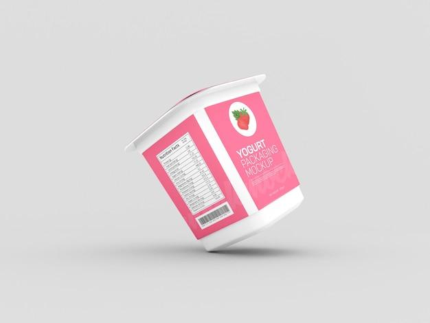 Yogurt cup packaging mockup