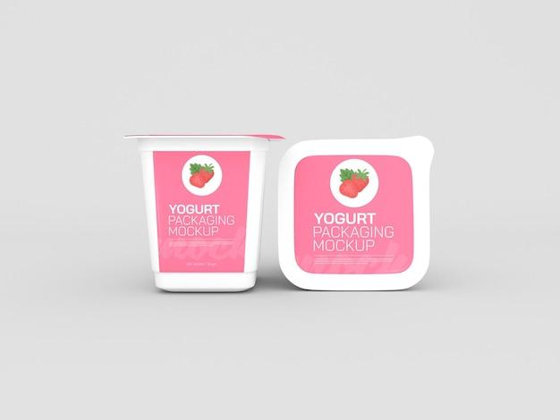 Мокап упаковки чашки йогурта