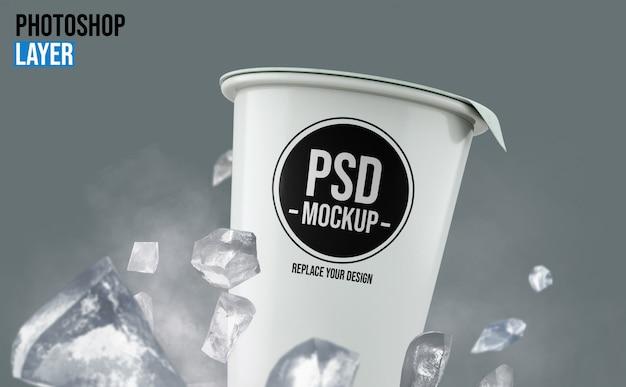 Yogurt cup with ice cubes mockup