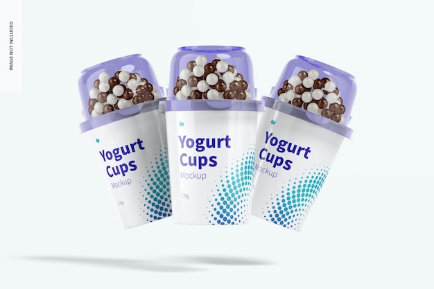 Yogurt cups set mockup