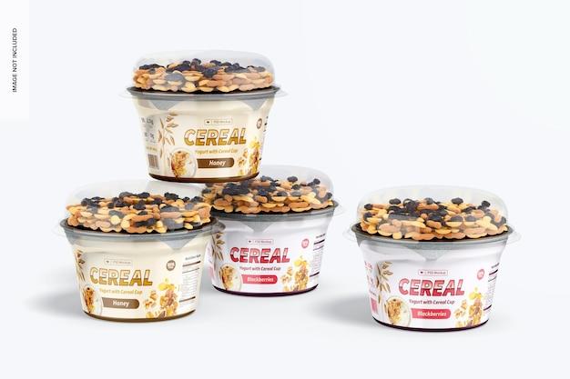 Yogurts with cereal cup mockup