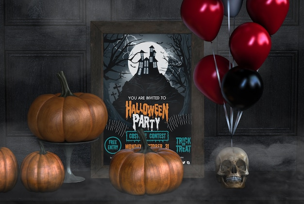 You are invited to halloween party with pumpkins and balloons