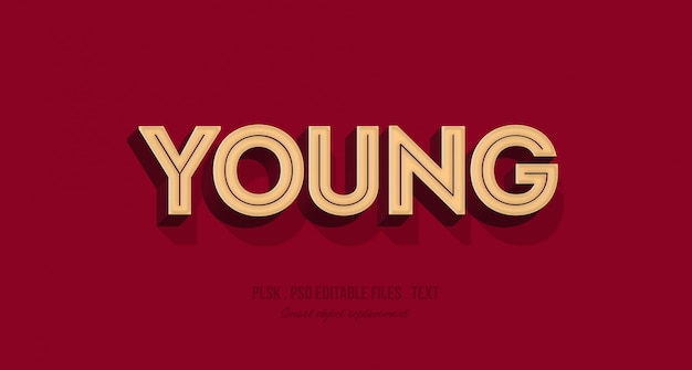 Young 3d text style effect mockup