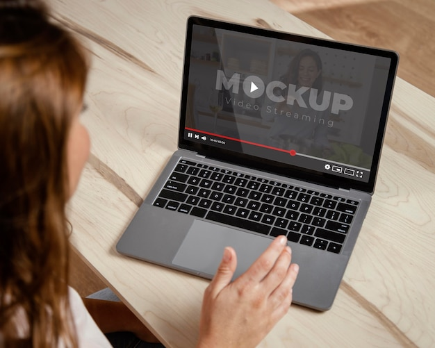 Young adult using digital device mockup