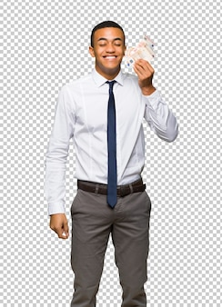 Young afro american businessman taking a lot of money