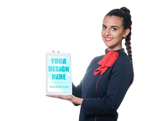 Young air stewardess holding device mockup