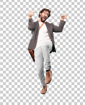 Young bearded businessman wearing blazer. fighting pose