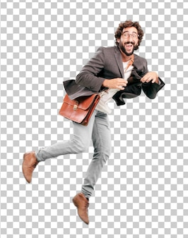 Young bearded businessman wearing blazer and jumping. success or victory expression