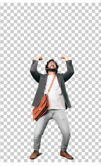 Young bearded businessman wearing blazer. pushing gesture with an empty blank