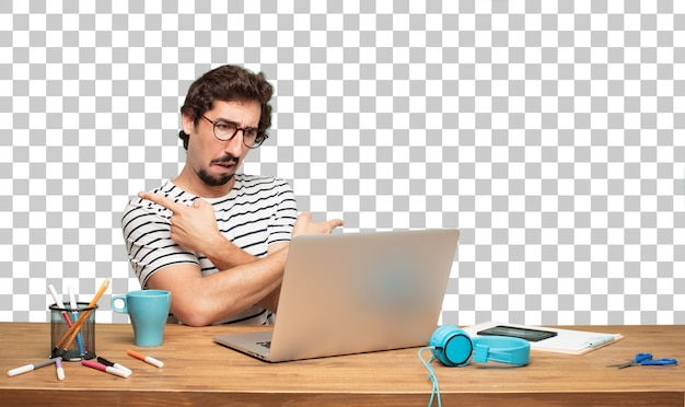 Young bearded man graphic designer. confused expression