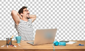 Young bearded man graphic designer. satisfaction expression