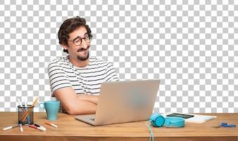 若いひげのある男のグラフィックデザイナー。ウィンクアイコンセプト