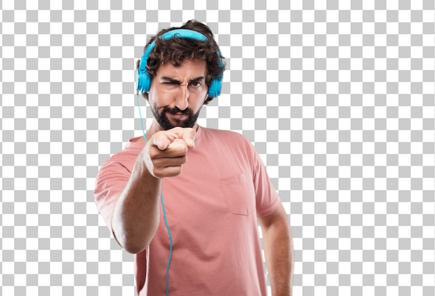 Young bearded man looking angry and surprised, shouting and pointing forward, towards you
