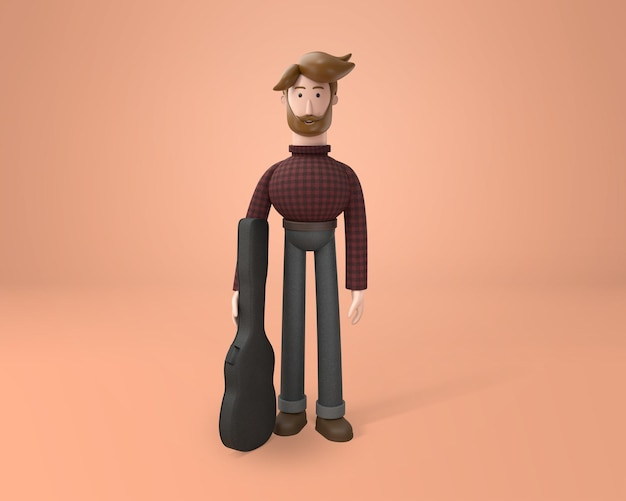 Young bearded musician wearing winter cloth and holding a guitar