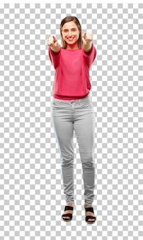 Young beautiful and cool woman full body
