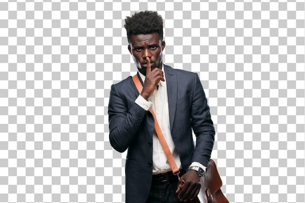 身振りで示す若い黒人実業家