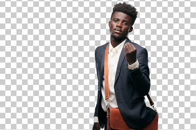 Young black businessman looking happy, proud and satisfied, gesturing cash or money