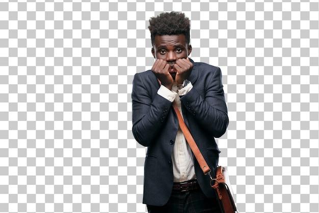 怖がっておびえたと恐怖の若い黒人実業家