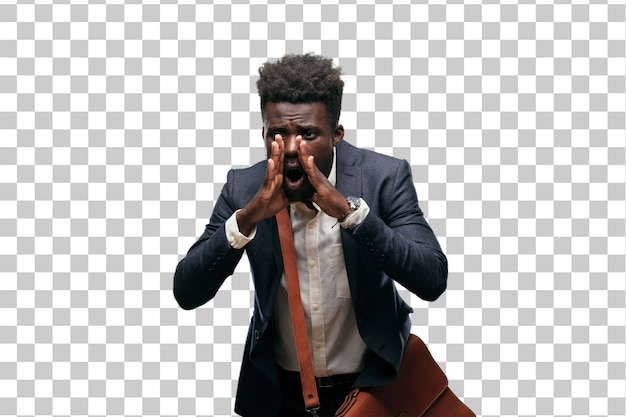 Young black businessman shouting loud like crazy, calling with hand