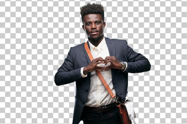 若い黒の実業家は、笑顔で、幸せと恋に、手で心の形を作る。