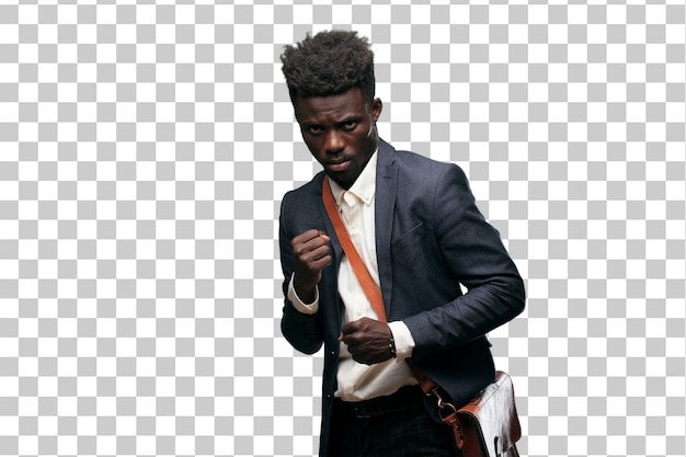 Young black businessman with an angry, aggressive and menacing pose