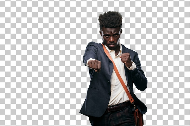 Young black businessman with and angry expression