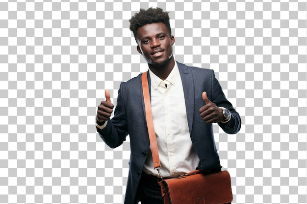 Young black businessman with a satisfied, proud and happy look with thumbs up