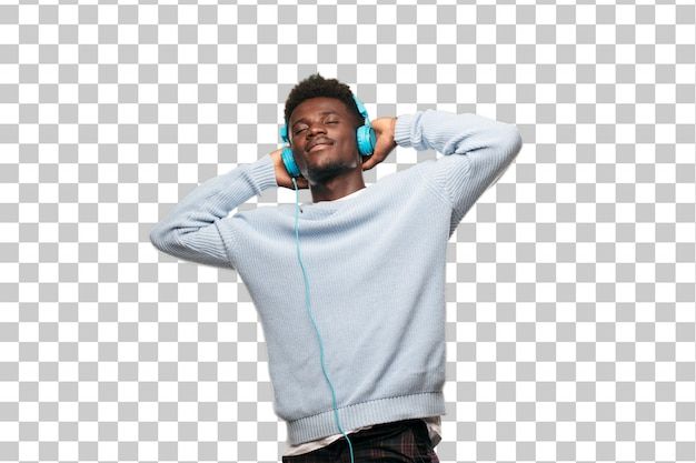 Young black man listening music with his headphones