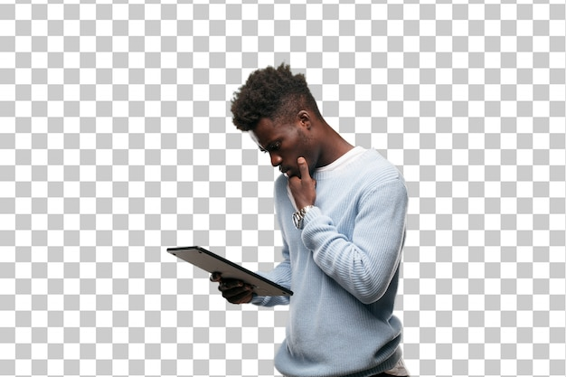 Young black man using a smart tablet