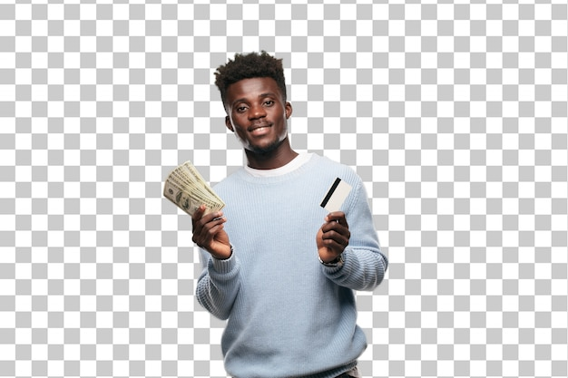 Young black man with a credit card. money concept