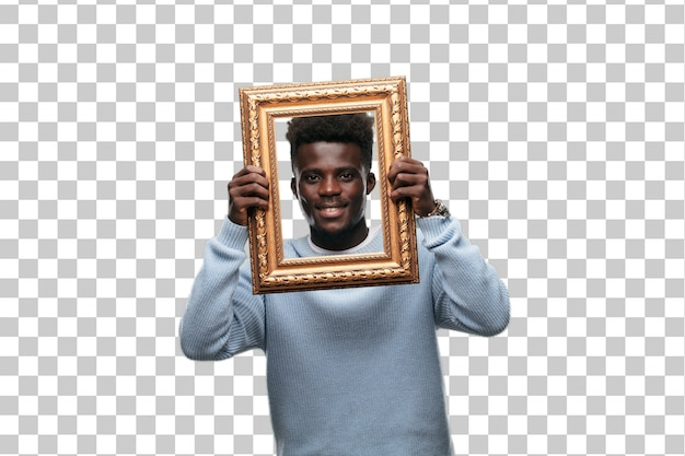 Young black man with a golden baroque frame