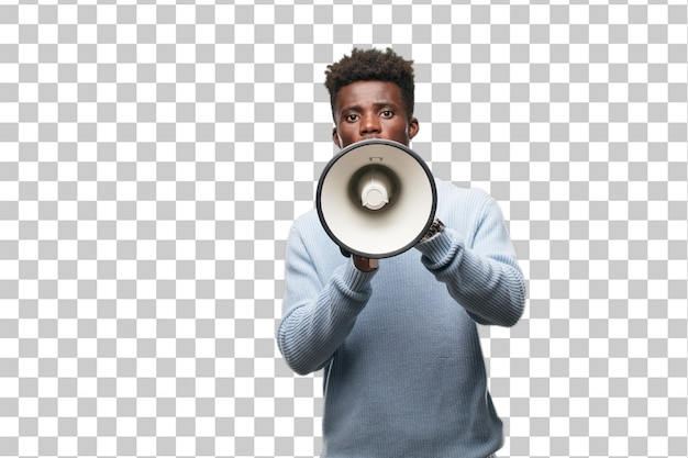 Young black man with a megaphone