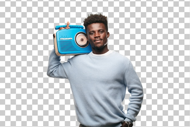 Young black man with a vintage blue radio