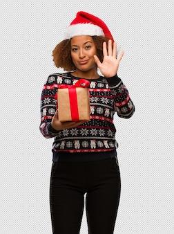 若い、黒、女、見ること、クリスマス、日