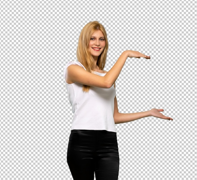 Young blonde woman holding copyspace to insert an ad