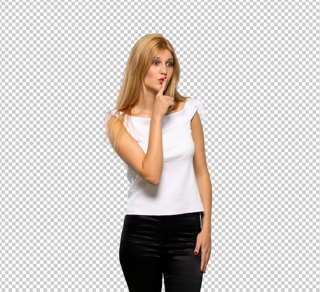 Young blonde woman showing a sign of silence gesture putting finger in mouth