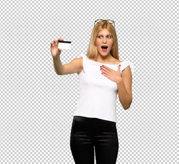 Young blonde woman with troubled holding broken smartphone
