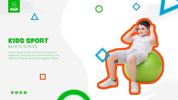 Young boy doing sport template