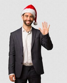 若い、ビジネスマン、見ること、サンタ、帽子、数字、5、
