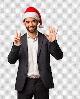 若い、ビジネスマン、身に着けていること、サンタ