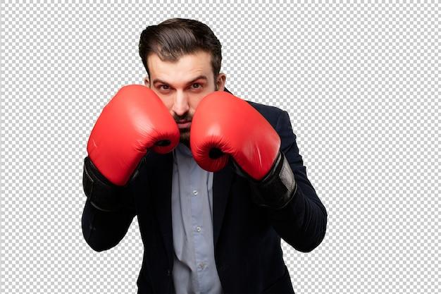 Young businessman praying